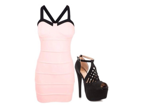 dress pastel pink black shoes