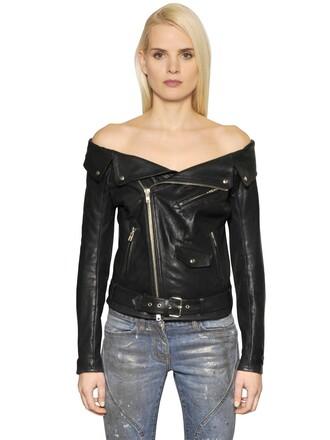 jacket sailor off the shoulder leather black