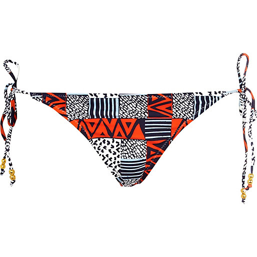 Blue and red tribal print bikini bottoms - bikinis - swimwear / beachwear - women