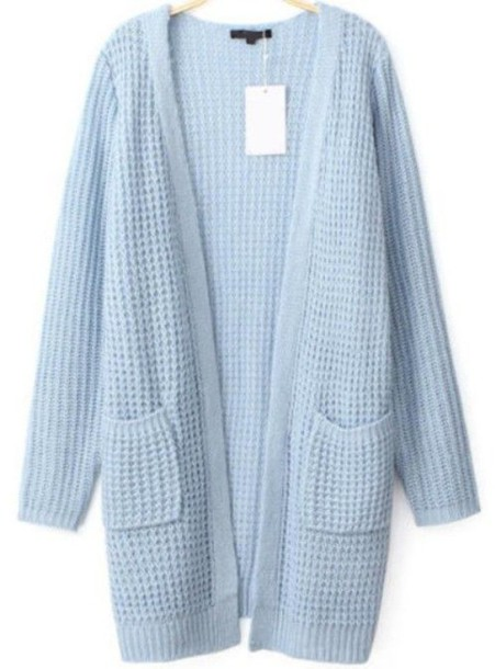 cardigan light blue cardigan waffle knit long line cardigan loose fit cardigan open front cardigan pocket cardigan sweater front pockets www.ustrendy.com