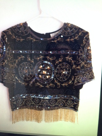 blouse top jewels sequin dress swimwear sequins jemper crop tops black yellow gold pretty little liars