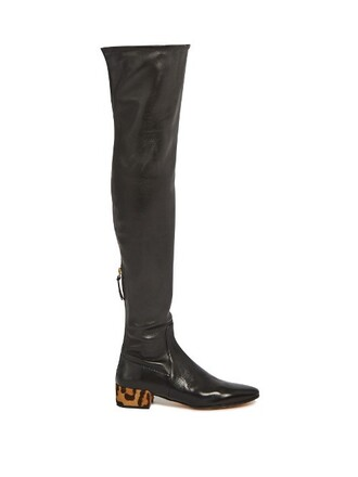 hair boots leather black shoes