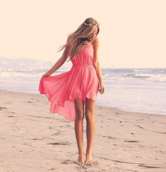 dress pink high-low dresses coral coral dress beach low high dress pretty pink dress cute dress girl flower headband love it summer flowers