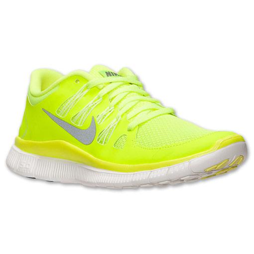 Women's Nike Free 5.0  Running Shoes| FinishLine.com | Volt/Medium Base Grey/Summit White