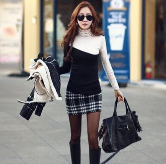 skirt check mini skirt cute pencils