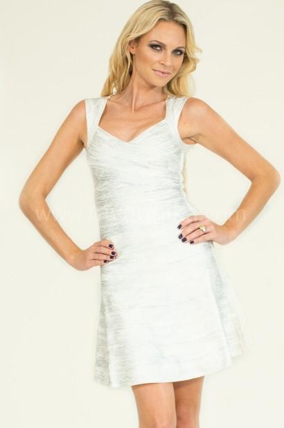 Silver white foil printed flare bandage dress annika