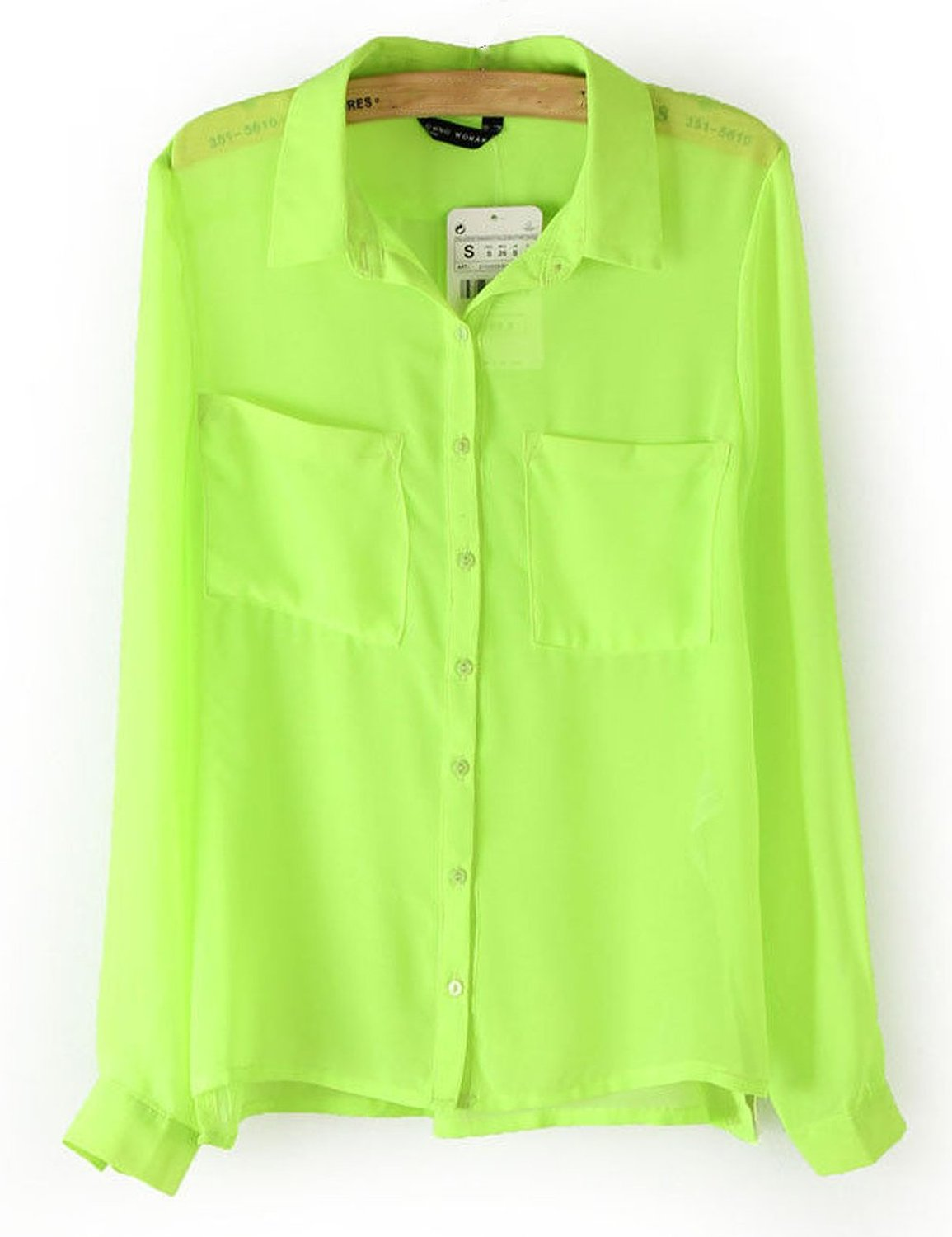 Women's candy color sexy sheer chiffon blouse buttom down shirt tops see