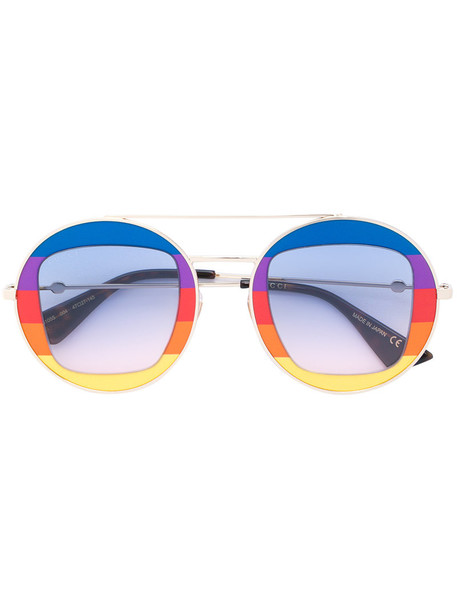 Gucci Eyewear - rainbow round frame sunglasses - women - metal/Acetate - 47, Grey, metal/Acetate in metallic