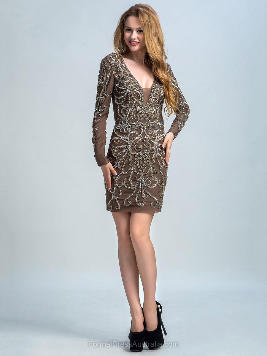 Open Back Sheath/Column Tulle Beading Long Sleeve Short/Mini Prom Dress - formaldressaustralia.com