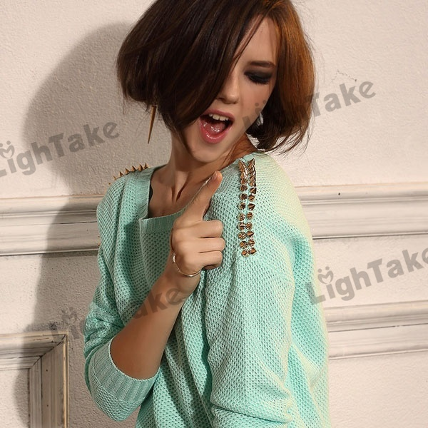 Hot long sleeve round neck gold tone riveted knitted jumpers sweater mint green