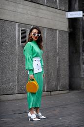 sunglasses,white sunglasses,bag,round bag,yellow bag,skirt,top,pumps,white shoes