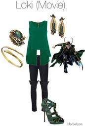 pants,loki,comics,green,jewels,outfit,polyvore,gucci shoes,sandal heels