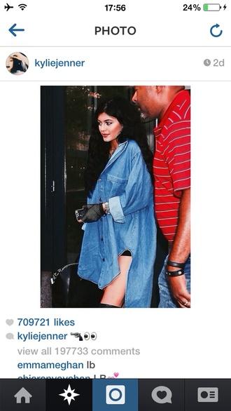 kylie jenner denim denim dress oversized denim shirt kardashians