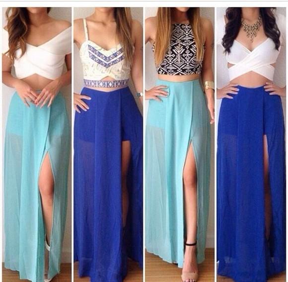 skirt top blue skirt dress white dress blue dress skirts and tops crop tops aztec black dresses homecoming dress prom dress prom dresses 2014 longskirt