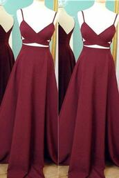 dress,burgundy dress,long dress,prom dress,simple prom dress,spaghetti straps prom dresses,cheap prom dress,handmade prom dress,elegant prom dress,pretty prom dress,v-neck prom dress,evening dress,long homecoming dress,graduation dress,okdresses