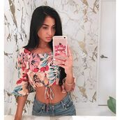 top,print,floral,floral top,crop tops,off the shoulder top,revolve,exclusie,red,blue,white,pink,festival,off the shoulder,revolve clothing,tie front,tie front cop top,blue tie front top,tropical,long sleeves,festival top,coachella,music festival,outfit,outfit idea