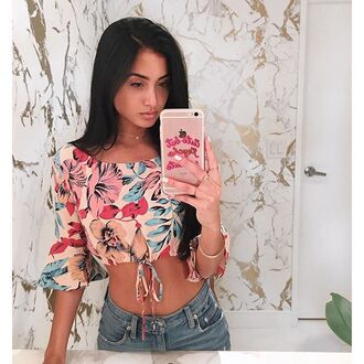 top print floral floral top crop tops off the shoulder top revolve exclusie red blue white pink festival off the shoulder revolve clothing tie front tie front cop top blue tie front top tropical long sleeves festival top coachella music festival outfit outfit idea
