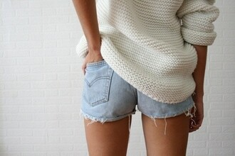 shirt wool comfortable comfy roll-up shorts sweater swimwear beige girly