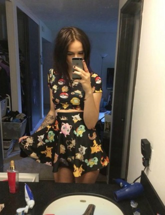 jumpsuit pokemon pokemons skirt black skirt bright grungy grunge top grunge dress soft grunge mainstream black crop top black top pokeball love lovely swag top allblackoutfits cartoon printed crop top