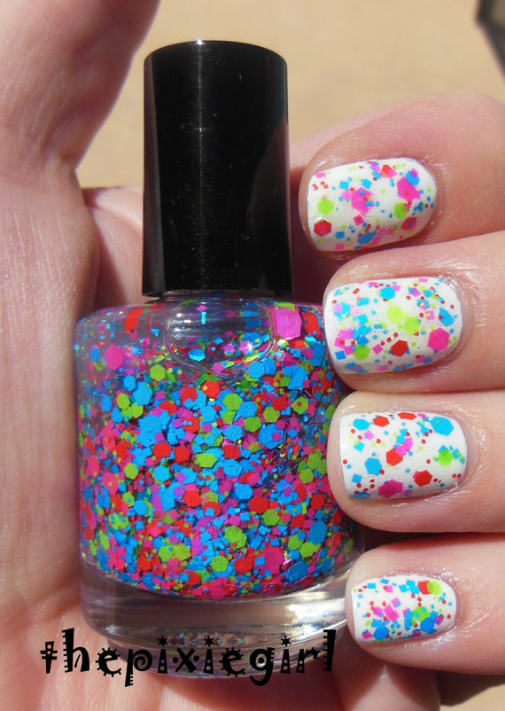 Bright Neon Glitter Indie Nail Polish Top Coat by thepixiegirl