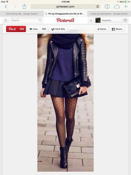 jacket black scarf black leather jacket blue sweater tights underwear