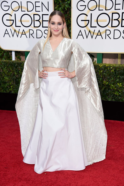blouse jemima kirke metallic red carpet Golden Globes 2015