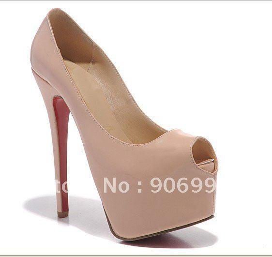 Daffodil nude colored sheepskin Peep toe sandals red bottom