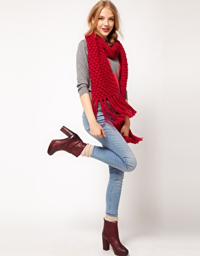Asos textured knit tassel scarf at asos