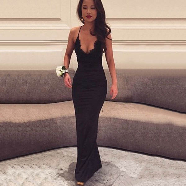 352bd34e3480 Long Prom Dresses, Unique Sheath V-neck Black Formal Dresses For Women,  Silk-like Satin ...