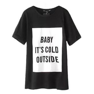 t-shirt black letters top cold short sleeve brenda-shop colorblock cool