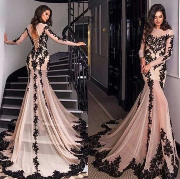 a0476583382a dress prom dress long sleeve dress champagne dress lace dress mermaid prom  dress long prom dress