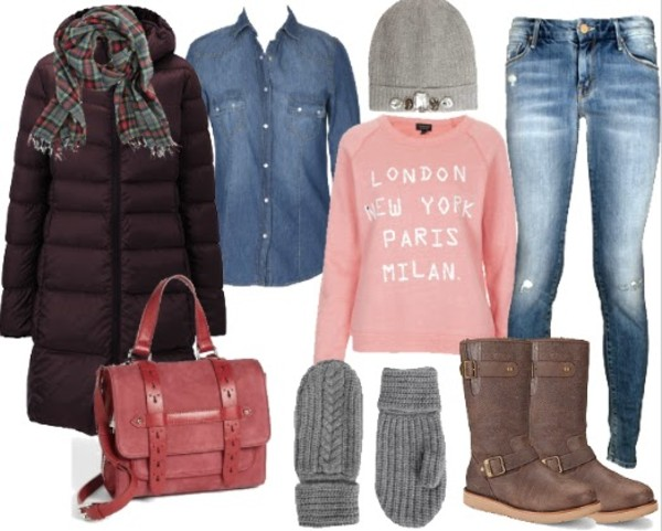 lilly's style coat scarf bag shirt sweater hat jeans shoes