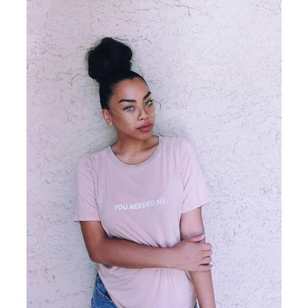 t-shirt maniere de voir rihanna you needed me nude top nude pink camel slogan t shirt