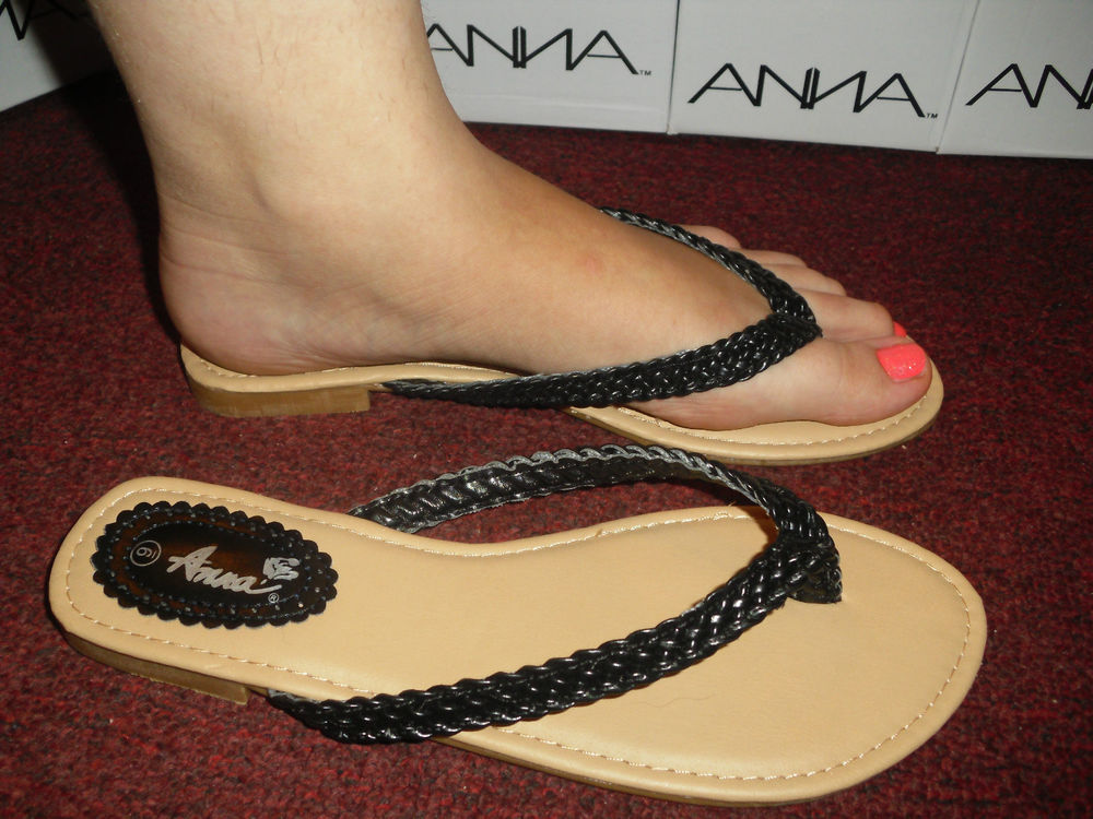 New Womens Braided Black Silver and Red Flip Flops | eBay
