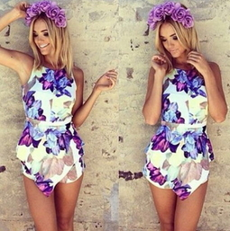 Floral Backless Romper - Juicy Wardrobe