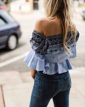 top,tumblr,embroidered,embroidered tops,blue top,bell sleeves,off the shoulder,off the shoulder top