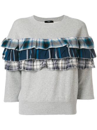 sweatshirt ruffle women plaid cotton grey sweater