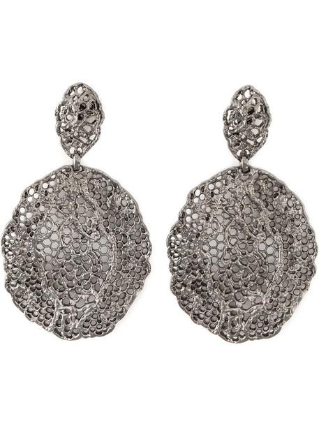 vintage metal women earrings lace black jewels