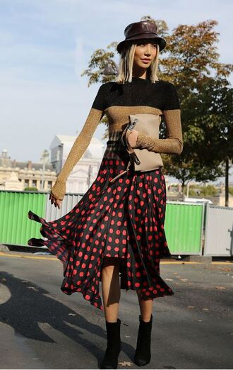 dress sweater asymmetrical polka dots midi dress streetstyle paris fashion week 2017 fall dress hat