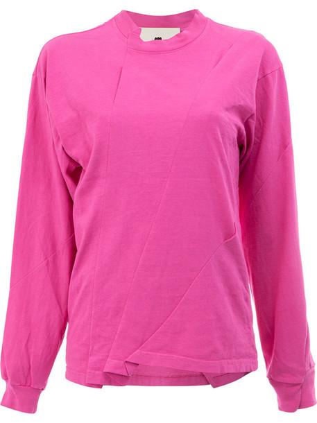 t-shirt shirt t-shirt long women cotton purple pink top