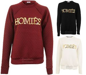 Ladies Quilted Homies Print Celeb New York Fashion Jumper Sweater Women's Top | eBay