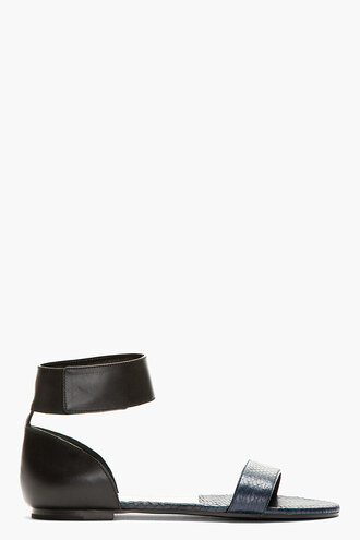 shoes flat black sandals blue women snake print