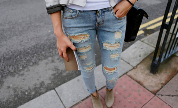 Jeans: ripped jeans, denim, tight, skinny jeans, suede boots ...