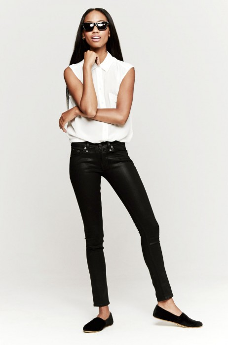 Rag & Bone The Skinny Jeans In Coated Black | The Dreslyn