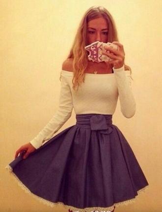 dress skater dress skater skirt blonde girl lace dress blue skirt