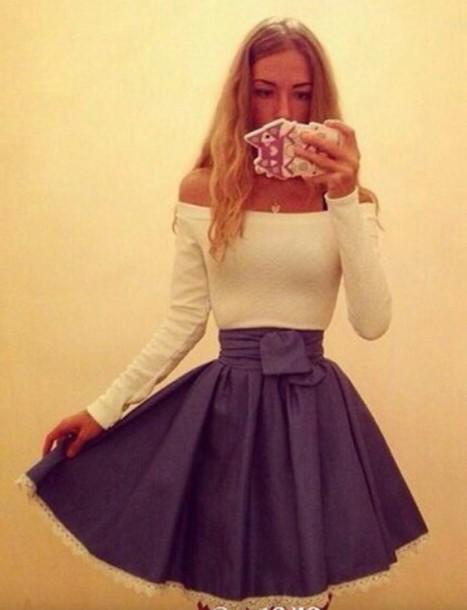 dress skater dress skater skirt blonde hair lace dress blue skirt blouse boat neckline dress white dress blue dress fit and flare dress off the shoulder dress