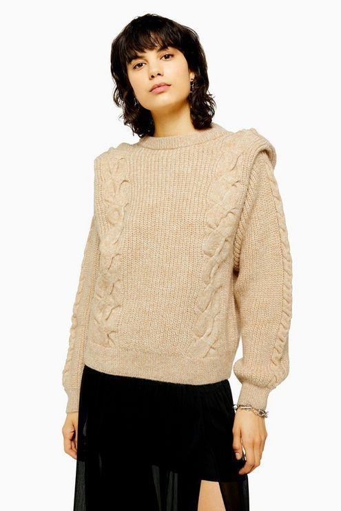 Idol Bold Shoulder Cable Knit Jumper - Oatmeal