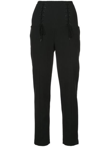 Tibi women spandex lace cotton black pants