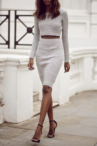 dress skirt knitwear crop tops two-piece shoes