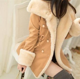 coat warm warm winter coats winter coat khaki cute